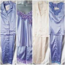 Sleeveless Satin Pyjamas Sets Selection Ivory / Purple Size 12 / Medium