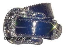Black Western Rhinestone Croco Patent Snap On Buckle Leather Belt L ML