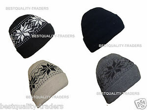 Unisex Knitted fully fleece lined Insulated Ski Beanie Hat  hiking, camping etc