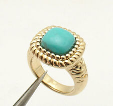 Size 7 Technibond Genuine Turquoise Textured  Ring 14K Yellow Gold Clad Silver