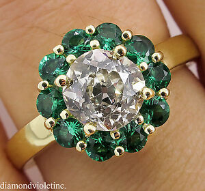 1.82CT ESTATE VINTAGE OLD EURO DIAMOND CLUSTER ENGAGEMENT WEDDING RING 18K YG