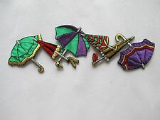 #2909 Green,Purple,Red Umbrella Embroidery Iron On Applique Patch