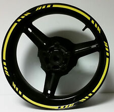 BRIGHT YELLOW REFLECTIVE MOTORCYCLE CAR RIM STRIPES WHEEL DECALS TAPE STICKERS