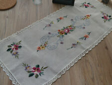 """35"""" Vintage White Needlepoint Table Runner French Country Rustic"""