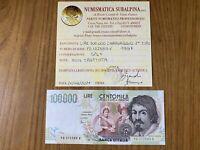 REPUBBLICA ITALIANA BANCONOTA LIRE 100000 CARAVAGGIO II TIPO D 1997 SPL+