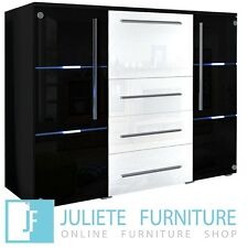 Highboard Glamour Cabinet Living Room GLASS Dresser WHITE/BLACK HIGH GLOSS + LED