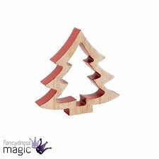 De Madera 12cm Rojo árbol de Navidad Abeto Nórdico 3D recorte de pie Decoración de Navidad