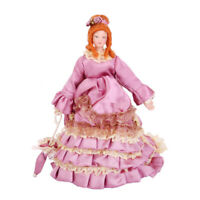 1:12 Dolls House Miniature Figure Porcelain Victorian Dolls Lady in Gown