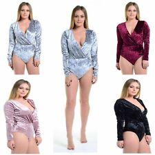 Womens Wrap Over V Neck Shirt Bodysuit Ladies Leotard Crushed Velvet Vest Tops