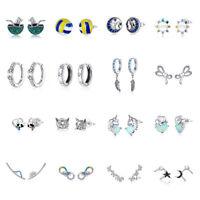 Mixed-styles European .925 Sterling Silver CZ Stud Earrings For Women Jewelry