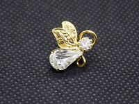 Vintage Flying Angel Lapel Pin GOLD TONE CRYSTAL Face & Body SUPER CUTE
