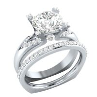 2.00 Ct Round Moissanite Wedding Engagement Bridal Ring Set 14k White Gold GP