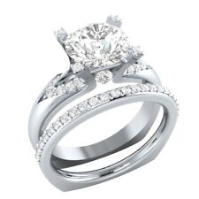 Ring Set 14k White Gold Gp 2.00 Ct Round Moissanite Wedding Engagement Bridal