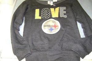 LOVE PITTSBURGH  STEELERS  SWEATSHIRT GIRLS SIZE 10/12  LARGE  NEW  NFL
