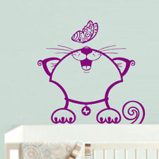 Wall Decal Sticker Cat Family Funny Cartoon Raccoon Butterfly Baby Nursery M648