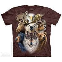 THE MOUNTAIN NORTHERN WILDLIFE COLLAGE ANIMALS NATURE ADVENTUROUS T SHIRT S-5XL