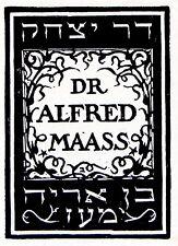 JEWISH Bookplate EXLIBRIS Bezalel BUDKO Hebrew SIGNED WOODCUT Judaica ISRAEL