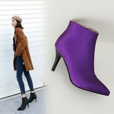 Womens Synthetic Leather Ankle Boots Stiletto Mid Heels Zipper Pointed Toe Pumps
