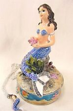 Mermaid in the Coral Jeweled Pewter Trinket Box w/Necklace undersea decor