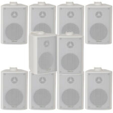 "10x 60W 2 Way White Wall Mounted Stereo Speakers - 3"" 8Ohm-Mini Background Music"