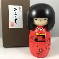 "Usaburo Japanese Kokeshi Wooden Doll 5""H Girl Red Kimono Osanago Made in Japan"