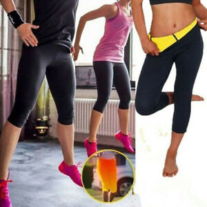 Damen Sauna Abnehmen Schwitzhose Fitness Shaper Stoffhose Leggins Abnehmhose BKT