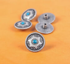 10PC 26X26MM Vintage Silver Flower Turquoise Rope Edge Screwback Craft Conchos