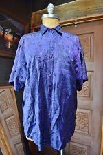ITS MALKI Womens Embellished Purple Indigo Short Sleeve Button Down Shirt XL