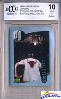 1998 Upper Deck #107 Michael Jordan Sticker BECKETT 10 MINT Bulls HOF