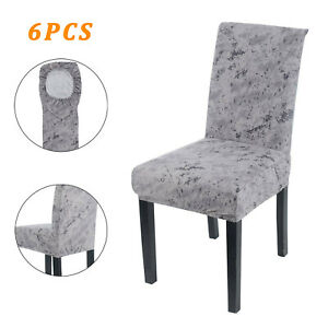 6PCS Dining Chair Seat Covers Slip Stretch Wedding Banquet Party Removable NEW