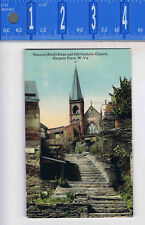 Natural (Rock) Steps and Old Catholic Church in Harpers Ferry Wva- Postcard