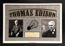 Thomas Edison Signed Check Custom Framed Psa Inventor Light Bulb Motion Camera