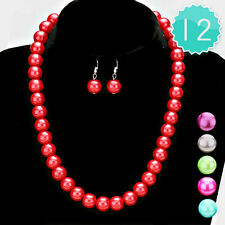 Wholesale Bulk Lot 12 necklace earring jewelry sets 10mm pearl  bead