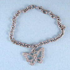 """Butterfly Charm Silver Bracelet 7"""" Long Crystal Accent Designer Look USA Seller"""