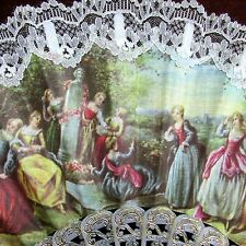 Fan Victorian scene with Lace Trim Delicate Cloth Beautiful Signed Made in Spain