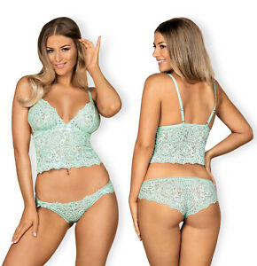 OBSESSIVE Delicanta Luxury Super Soft Lace Cami Top and Matching Brief Set