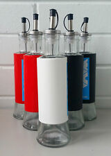 6 x Glass Oil/Vinegar/Source Dispenser/Cruet/Pourer With Coloured Metal Cover AP