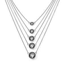 """Pendant Necklace 18"""" w/ 2"""" Ext Ladies Chisel Stainless Steel Grey Glass Polished"""