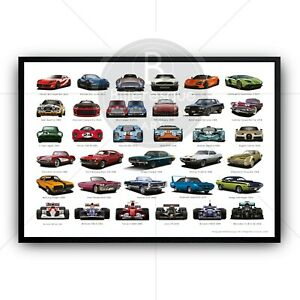 Car Poster Print Collection - Super Cars - Racing Cars - Classic Cars