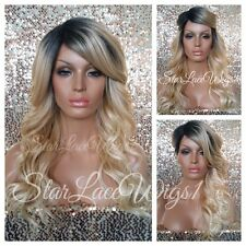 Long Wavy Lace Front Wig Golden Blonde Ombre Mixed Layers Dark Root Heat Safe