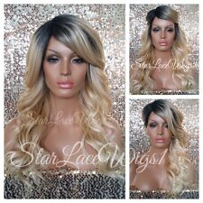 Synthetic Lace Front Wig Golden Blonde Wigs For Women Dark Root Bangs Heat Safe