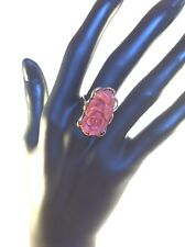 Carved Pink Coral Rose Set In 14K Yellow Gold Ring Size 7 Very LARGE! 5.4 Grams