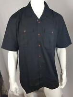 Jacamo Mens BLACK Pure Cotton Short Sleeve Military Shirt - Size M to 5XL