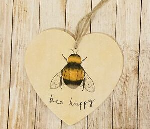 Shabby Chic Heart, Bees, Decoration, Plaque Sign Bee Happy, Wooden, Home, Gift