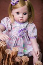 22'' Reborn Baby Girl Doll Vinyl Newborn Blonde Hair Clever Girl Smiling Face US