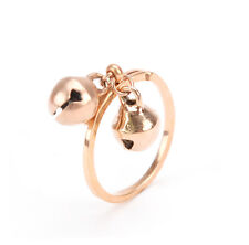 14K Rose Gold Plated Stainless Steel Baby's Two Bell Charm Ring Size 3.5