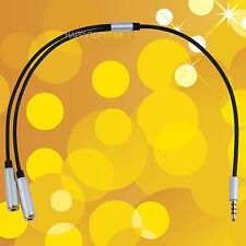 Silver 3.5mm Earphone Headphone Stereo Audio Splitter Cable Cord For iPhone iPad