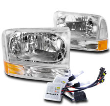 1999-2004 FORD F250 F350 F550 SUPERDUTY REPLACEMENT CHROME HEADLIGHT +10000K HID