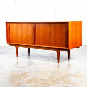 Mid Century Danish Modern Credenza Tambour Door Teak Bernhard Pedersen Sideboard