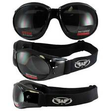 Black Frame Motorcycle Biker Jet Ski Goggles with Smoke Lenses Anti-Fog Glasses